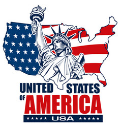 statue of liberty nyc usa map and symbol vector image