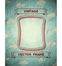 Vintage smooth frame with clouds vector image
