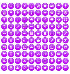 100 umbrella icons set purple vector