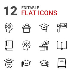 12 learning icons vector