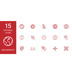15 geography icons vector image