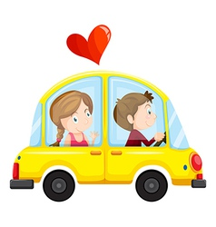 A yellow car with a loving couple vector image
