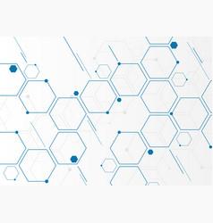abstract blue geometric hexagons molecular vector image