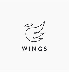 Abstract line art angel wing logo icon template vector