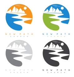 Abstract mountains and river in new path church vector