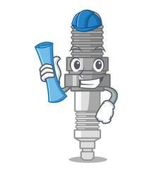 architect spark plug in a cartoon box vector image