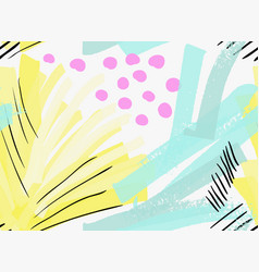 Artistic color brushed green yellow strokes with vector