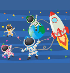 astronaunts flying in space vector image