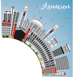 Asuncion skyline with gray buildings blue sky and vector