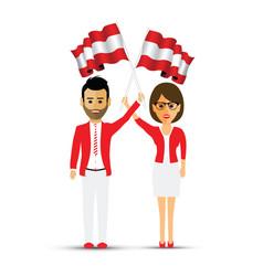 austria flag waving man and woman vector image