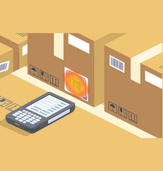 barcode scanner reads box storage vector image