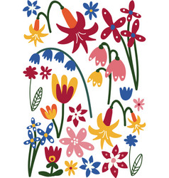 Beautiful colorful wild or garden flowers floral vector