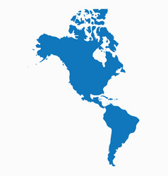 Blank blue similar north and south america map iso vector