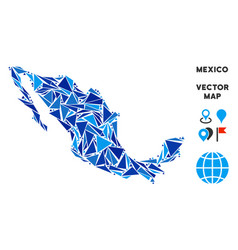 Blue triangle mexico map vector