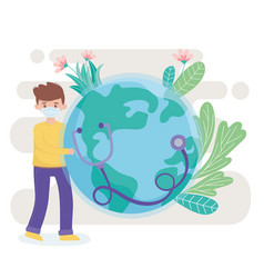 boy with medical mask stethoscope and world save vector image