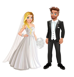Bride and groom in wedding day vector