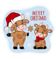 Bull treating christmas gingerbread vector