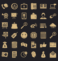 business marketing icons set simple style vector image
