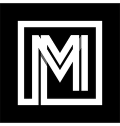 Capital letter M From white stripe enclosed in a vector image