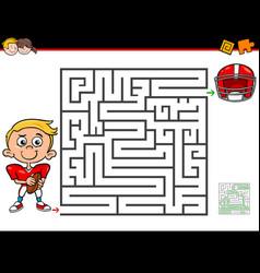 Cartoon maze activity with boy and football vector