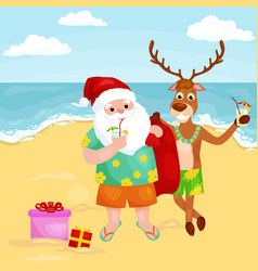 Cartoon reindeer and santa claus in festive hat vector