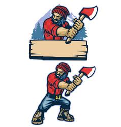 Cartoon style mascot lumberjack vector