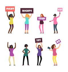 cartoon women protesters feminism womens rights vector image