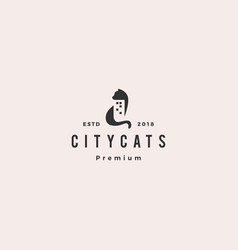 cat city building home house logo icon vector image