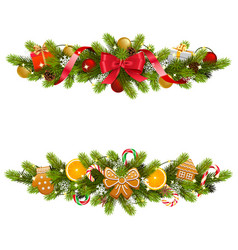Christmas fir decoration with garland vector