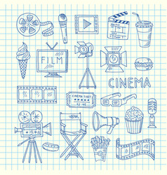 cinema doodle icons vector image