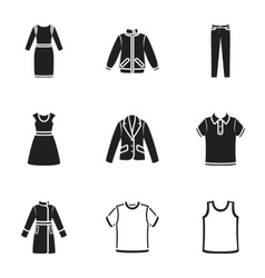 Clothes set icons in black style Big collection vector