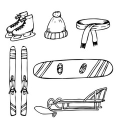 collection of objects for winter time vacation vector image