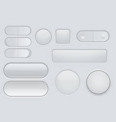 collection of white plastic interface buttons vector image