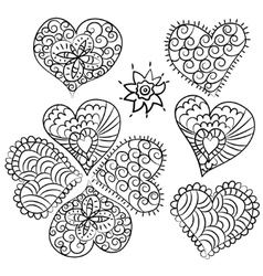 Cute heart Valentin doodle set vector image