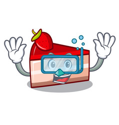 diving strawberry cake character cartoon vector image