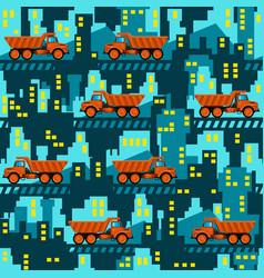 Dumper trucks on the background of industrial vector