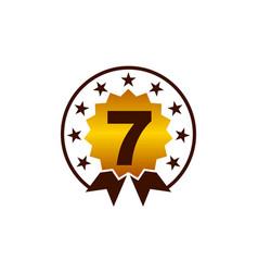 emblem best quality number 7 vector image