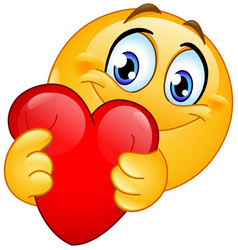 Emoticon hugging red heart vector