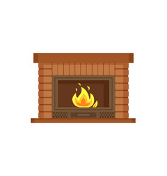 fireplace with metal frame construction of brick vector image