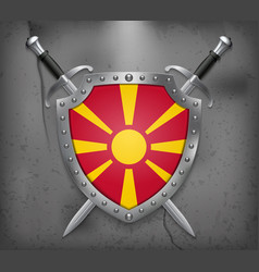 Flag of macedonia the shield with national flag vector