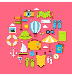 Flat summer holiday objects set vector