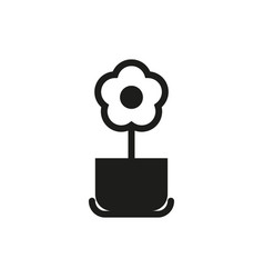 flower pot icon on white background vector image