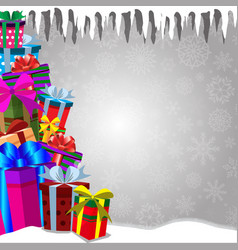 framework with heap of gifts standing on snow vector image