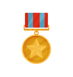 Golden medal in round shape with star in center vector