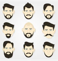 hairstyles hipster beard and a gray background vector image