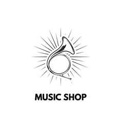 Hand drawn vintage hunting horn music shop logo vector