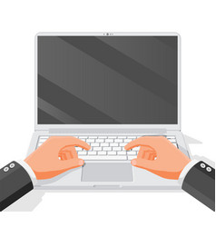 hands type or print on laptop keyboard vector image