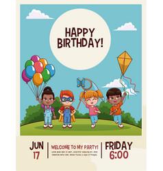 Happy birthday kids card vector