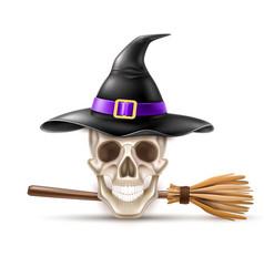 happy halloween elements witch hat broom vector image