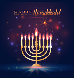 happy hanukkah shining background with menorah vector image